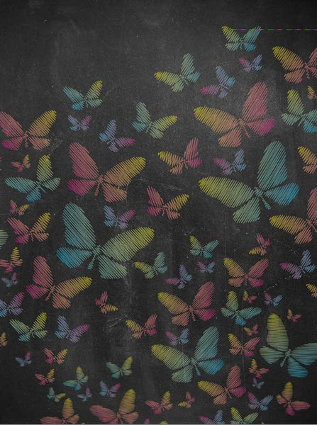 2205 Chalkboard Butterfly Colors Backdrop - Backdrop Outlet - 2