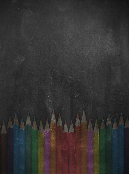 2208 Chalkboard Rainbow Pencil Backdrop - Backdrop Outlet