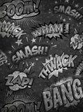 2368 Chalkboard Comic Super Hero Script Boom Smash Backdrop - Backdrop Outlet - 2