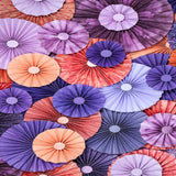 2435 Pinwheel Rosettes Pink Purple Coral Backdrop - Backdrop Outlet