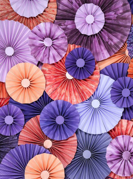 Pinwheel Rosettes Pink Purple Coral Backdrop - 2435 - Backdrop Outlet