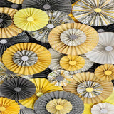 Pinwheel Rosettes Yellow Gray Backdrop - 2437 - Backdrop Outlet