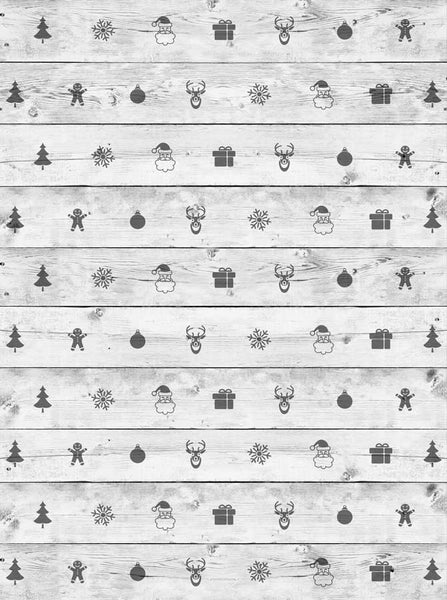 Christmas White Wood Backdrop - 2588 - Backdrop Outlet