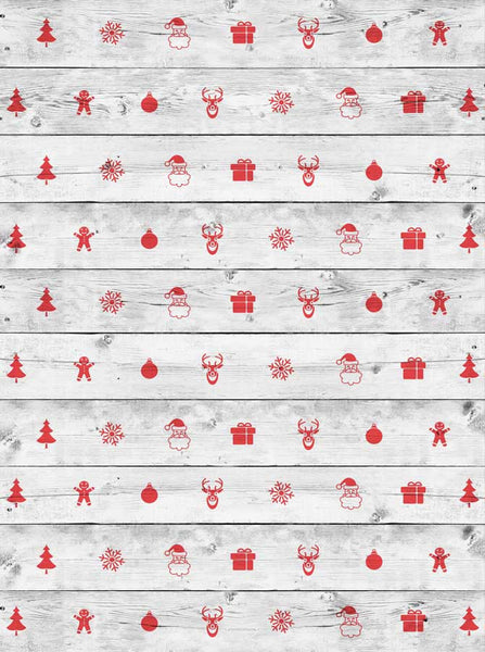White Wood Christmas Backdrop - 2589 - Backdrop Outlet