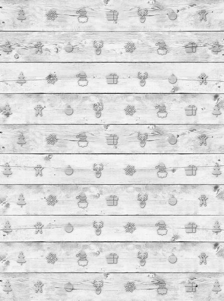 Whitewash Wood Christmas Backdrop - 2593 - Backdrop Outlet