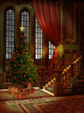 Victorian Christmas Tree Backdrop - 259 - Backdrop Outlet