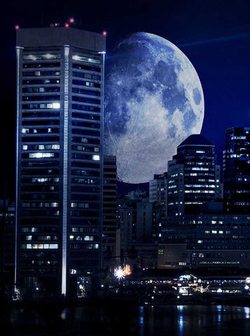 Blue City Moon Backdrop - 272 - Backdrop Outlet