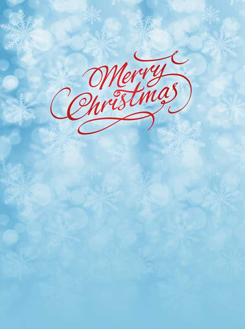 Merry Christmas Snow Blue Backdrop - 3118 - Backdrop Outlet