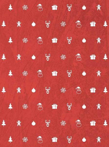 Red Christmas Charms Backdrop - 3124 - Backdrop Outlet