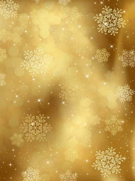 3128 Gold Snowflake Backdrop - Backdrop Outlet