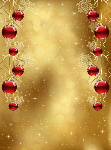 Red Ornaments Gold Christmas Backdrop - 3129 - Backdrop Outlet
