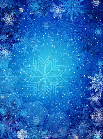 3455 Bold Blue Christmas Snowflake Backdrop - Backdrop Outlet