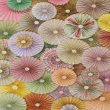3593 Pinwheel Rosettes Mint Pink Cream Yellow Coral Floral Spring Mix Backdrop - Backdrop Outlet