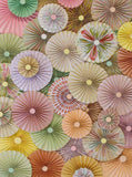 Pinwheel Rosettes Mint Pink Cream Yellow Coral Floral Spring Mix Backdrop - 3593 - Backdrop Outlet