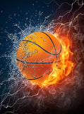Printed Background Fire Basketball Backdrop - 398 - Backdrop Outlet