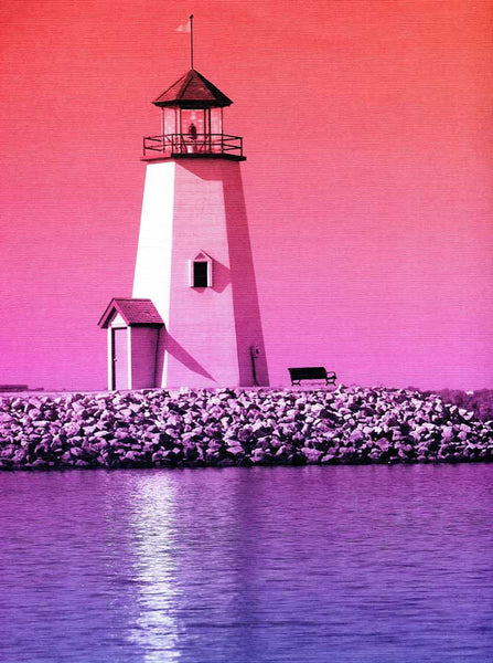 423 Printed Light House  Beach Sunset  Backdrop - Backdrop Outlet