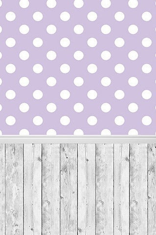 4300 Polka Dot  and Wood Backdrop - Backdrop Outlet