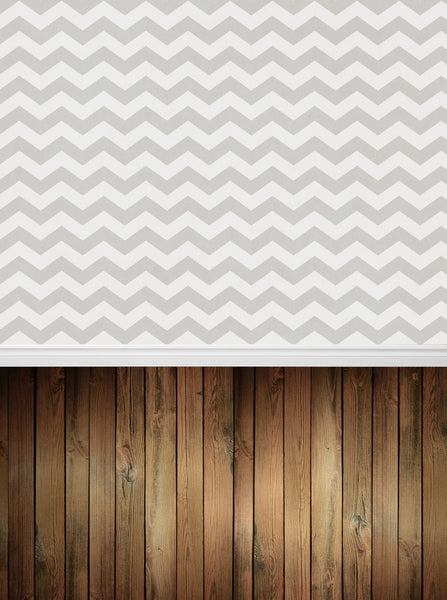 Grey and White Chevron with Wood Floor Backdrop - 4308 - Backdrop Outlet