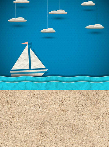 Boat at Sea with Sand Backdrop - 4311 - Backdrop Outlet
