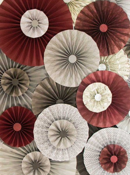 Pinwheel Rosettes Burgundy Grey Backdrop - 4550 - Backdrop Outlet