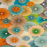 Pinwheel Rosettes Teal Turquiose Coral Orange Backdrop - 4551 - Backdrop Outlet