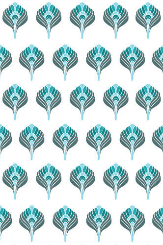 4648 Abstract Turquoise Blue Flower Pattern Backdrop