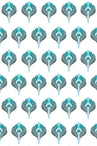 4648 Abstract Turquoise Blue Flower Pattern Backdrop - Backdrop Outlet