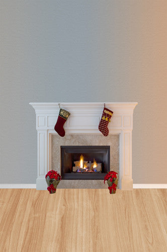 Christmas Scene White Fireplace Stocking Backdrop - 4655 - Backdrop Outlet