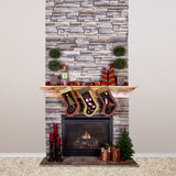 4656 Christmas Stone Fireplace Stockings Backdrop - Backdrop Outlet