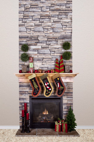 Christmas Stone Fireplace Stockings Backdrop - 4656 - Backdrop Outlet