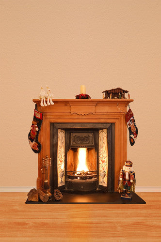 4657 Christmas Stocking Bright Fireplace Backdrop