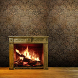 4658 Rustic Wood Burning Fireplace Vintage Backdrop - Backdrop Outlet