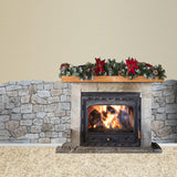 4659 Stone Fireplace Christmas  Pine Decoration Backdrop - Backdrop Outlet