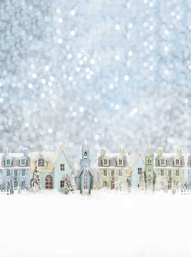 snowy christmas morning village backdrop 4661 backdrop outlet