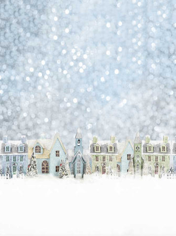 4661 Snowy Christmas Morning Village Backdrop - Backdrop Outlet