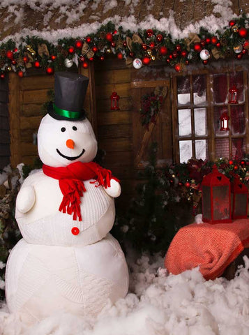 4662 Christmas Wood Cabin Snowman Backdrop - Backdrop Outlet