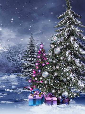 Snowy Outdoor Assorted Christmas Trees Backdrop - 5305 - Backdrop Outlet