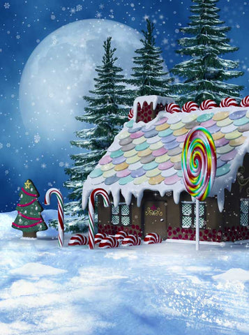 5306 Gingerbread House Candy Christmas Backdrop - Backdrop Outlet