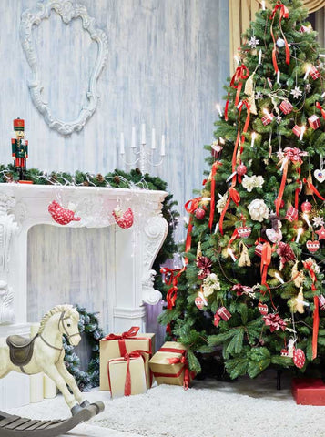 5309 Christmas Tree Rocking Horse Indoor Backdrop - Backdrop Outlet
