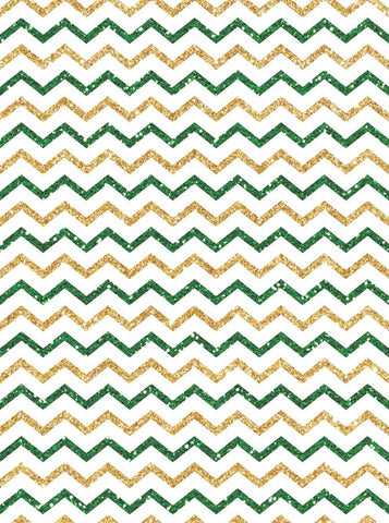 5314 Green White Gold Chevron - Backdrop Outlet