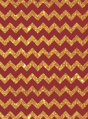 5321 Bold Red Gold Chevron - Backdrop Outlet