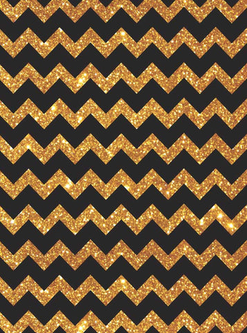 5322 Bold Black Gold Chevron - Backdrop Outlet