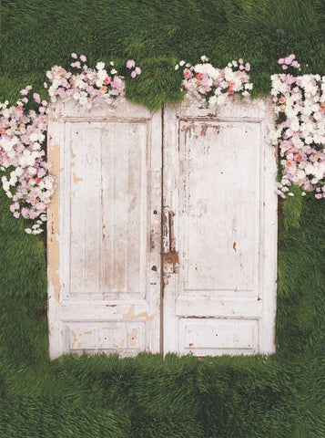 6100 Printed Wood Doors Greenery And Flowers Backdrop - Backdrop Outlet