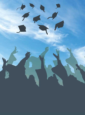 6136 Graduation Hat Toss To The Sky Backdrop - Backdrop Outlet