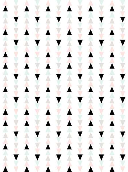 6163 Black And Pastel Triangle Printed Background - Backdrop Outlet