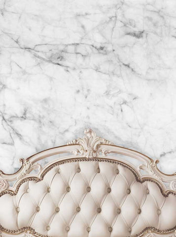 6202 Beige Ivory Tufted Headboard With White Marble Wall Printed Background - Backdrop Outlet