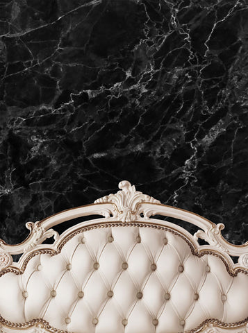 Cream Ivory Bed Tufted Headboard With Black Marble Wall Printed Backdrop - 6203 - Backdrop Outlet