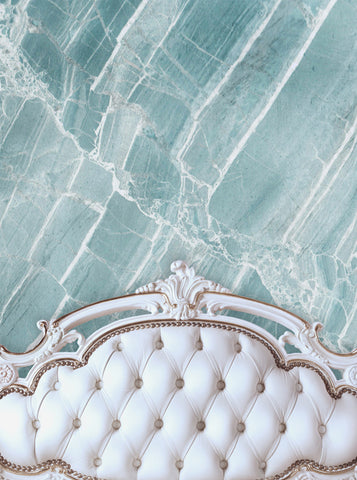 6204 White Bed Tufted Headboard With Blue Quartz Stone Wall Printed Backdrop