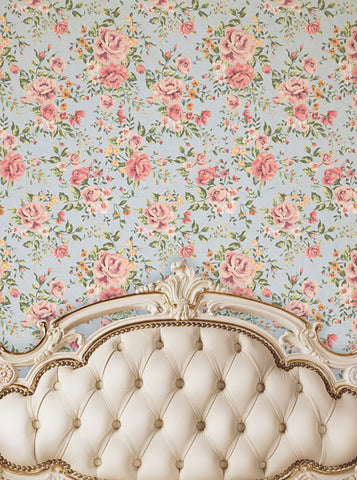 Cream Ivory Tufted Headboard With Pink Rose Printed Backdrop - 6205 - Backdrop Outlet