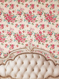Cream Ivory Tufted Headboard With Rose Floral Printed Backdrop - 6206 - Backdrop Outlet